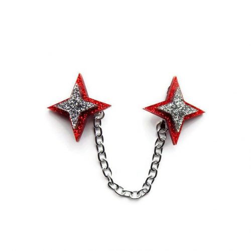 Retro red star acrylic sweater clip by Levanter