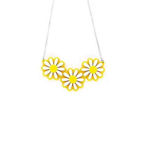 Acrylic Daisy Statement Necklace by Levanter