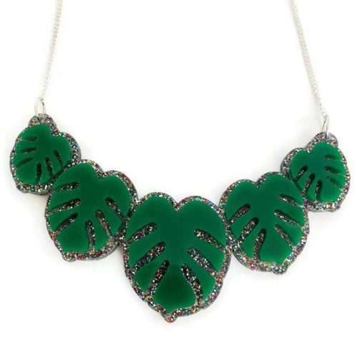 Laser Cut Acrylic Monstera Leaf Necklace by Levanter