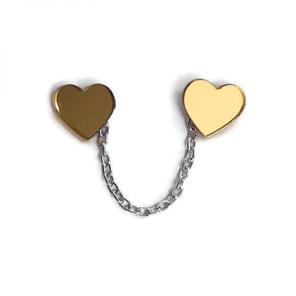 Gold Acrylic Hearts Sweater Clip by Levanter