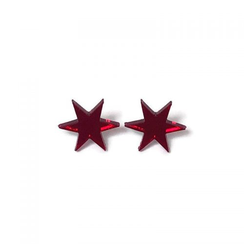 Red Starburst Stud Earrings by Levanter