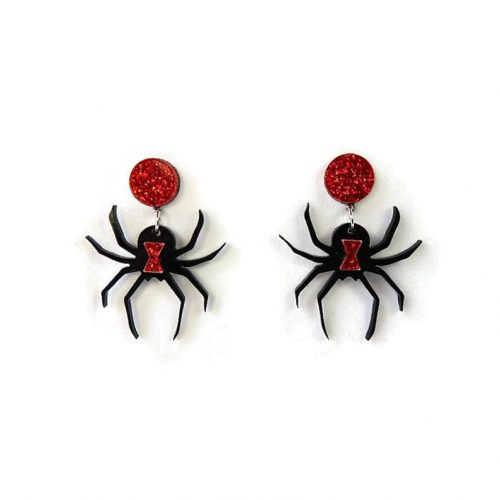 Halloween Black Widow Spider Earrings by Levanter