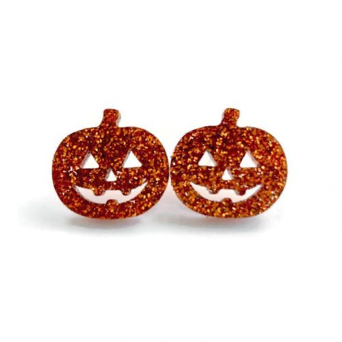 Orange glitter acrylic pumpkin stud earrings by Levanter.
