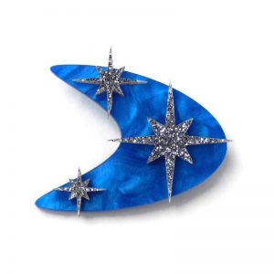 1950s Style Blue Boomerang and Stars Brooch