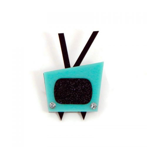 Aqua and Black Vintage 1950s Television Brooch