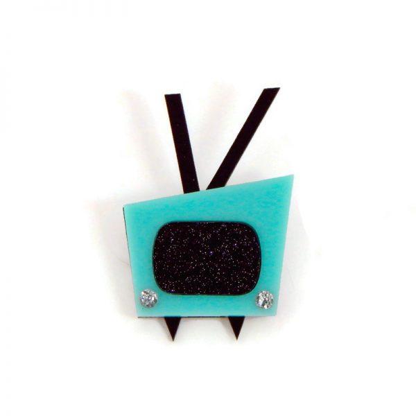 Aqua and Black Vintage 1950s Television Brooch