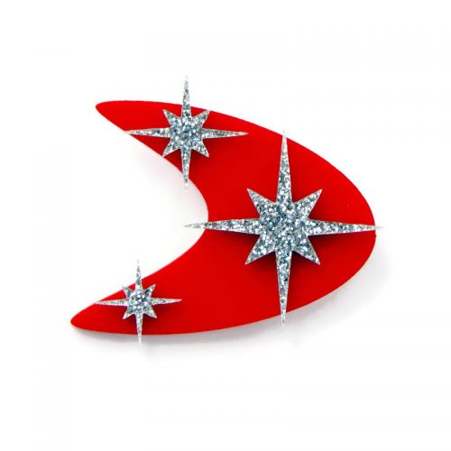 Red and Silver Boomerang and Starburst brooch