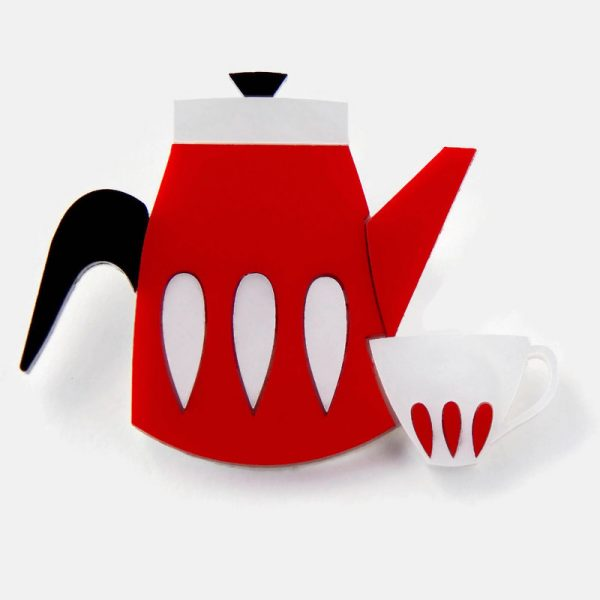Red and white acrylic coffee pot brooch
