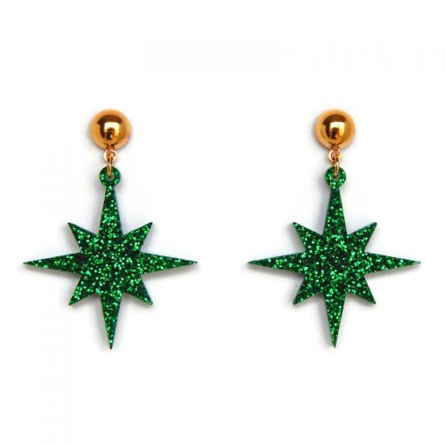 retro-green-glitter-starhburst-earrings