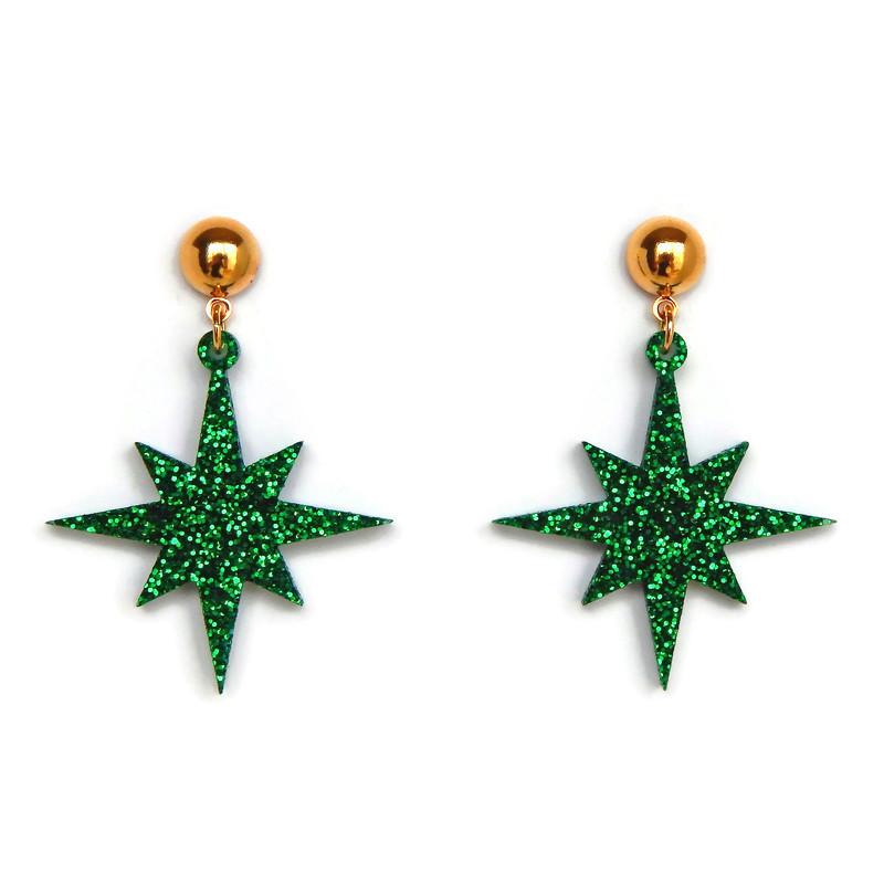 retro-green-glitter-starhburst-earrings