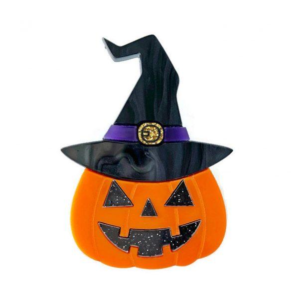 Halloween Witch Jack O Lantern Brooch